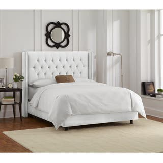 White Velvet Diamond Tufted Wingback Nail Bed- Skyline Furniture|https://ak1.ostkcdn.com/images/products/11470261/P18426527.jpg?impolicy=medium