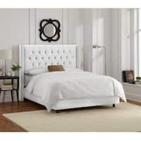 Skyline Furniture White Velvet Diamond Tufted Wingback Bed Frame