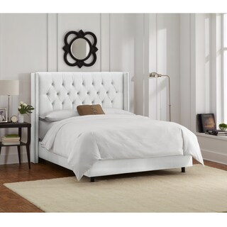 Skyline Furniture White Velvet Diamond Tufted Wingback Bed Frame (4 options available)