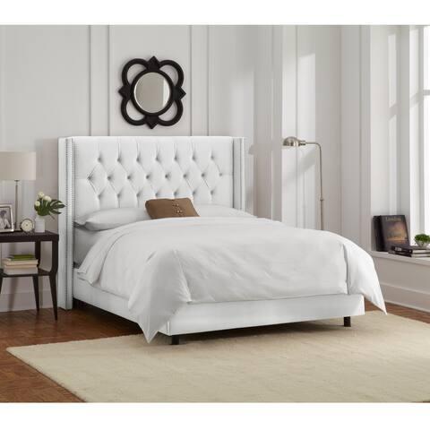 Skyline Furniture White Velvet Diamond Tufted Wingback Nail Bed