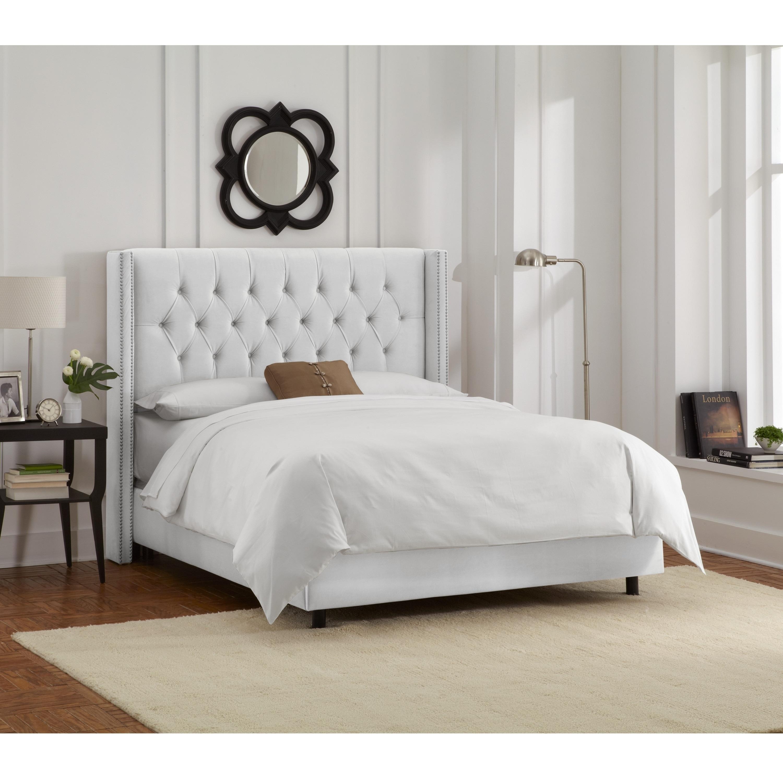 Skyline Furniture White Velvet Diamond Tufted Wingback Nail Bed Overstock 11470261
