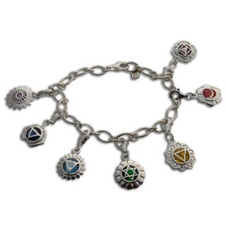 Sterling Silver 7 Chakra Charm Bracelet with 8 mm Charms (India)