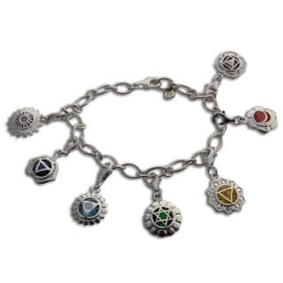 Handmade Sterling Silver 7 Chakra Charm Bracelet with 8 mm Charms (India)|https://ak1.ostkcdn.com/images/products/11470273/P18426538.jpg?impolicy=medium