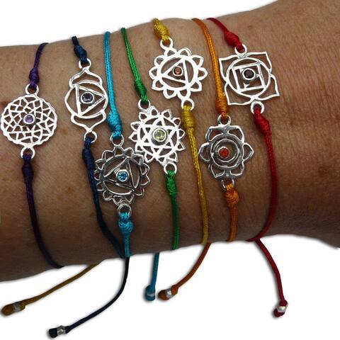 Handmade Set of 7 Chakra Adjustable Bracelets (India)