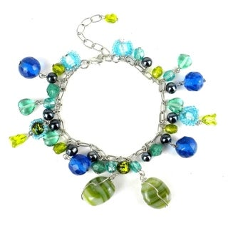 Handmade Green and Blue Glass Bead Charm Bracelet (India)