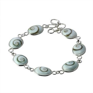 Sterling Silver Oval Eye of Shiva Shell Link Classic Bracelet (Thailand)