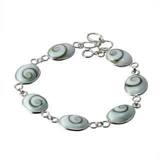 Handmade Sterling Silver Oval Eye of Shiva Shell Link Classic Bracelet (Thailand)