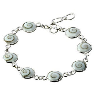 Sterling Silver Round Eye of Shiva Shell Link Classic Bracelet (Thailand)