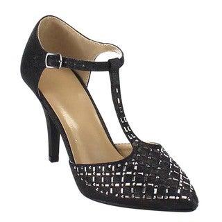 Beston GB22 Women's Glitter D'orsay Mid-Heel T-Strap Dress Heels