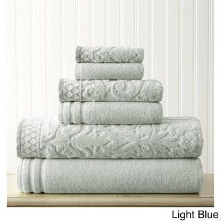 Damask Jacquard 6-piece Embellished Border Towel Set