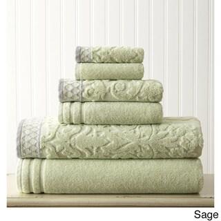 Damask Jacquard Egyptian Cotton Embellished Border 6-piece Towel Set
