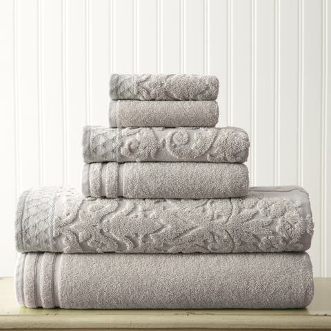 Modern Threads Damask Jacquard 6-piece Embellished Border Towel Set