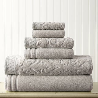 Amraupur Overseas Damask Jacquard 6-piece Embellished Border Towel Set