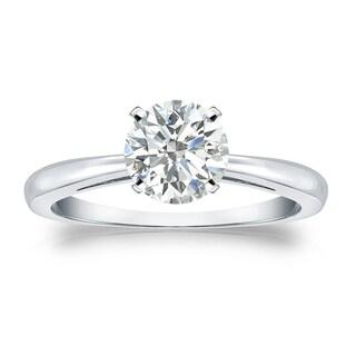 Auriya Platinum 1ct TDW Round-cut Diamond Solitaire Engagement Ring