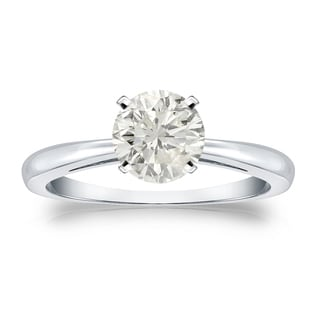 Auriya Platinum 1ct TDW Round-cut Diamond Solitaire Engagement Ring (J-K, I1-I2)