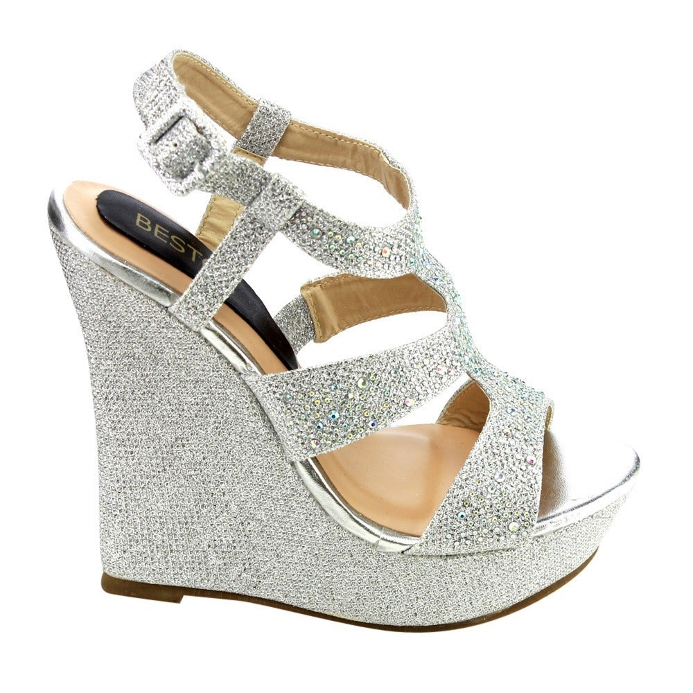 Intelligent Black Silver Gold Shimmer Rhinestone Accent Platform Wedges Heels Faux Leather Boots