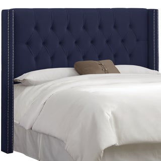 Skyline Furniture Navy Velvet Diamond Tufted Wingback Headboard
