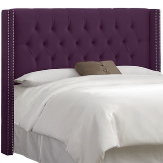 Skyline Furniture Aubergine Velvet Diamond Tufted Wingback Headboard