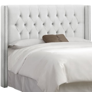 Skyline Furniture White Velvet Diamond Tufted Wingback Headboard