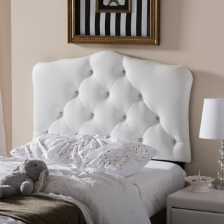 Baxton Studio Rhoda Modern and Contemporary Twin Size Faux Leather Upholstered Button-tufted Scalloped Headboard