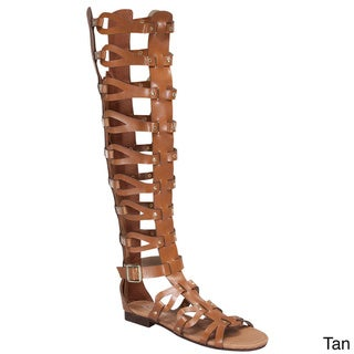 Beston Women's Gladiator Knee High Sandals