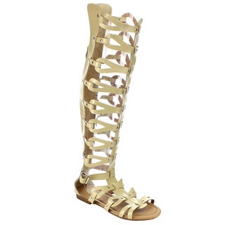 Beston Women's Gladiator Knee High Sandals
