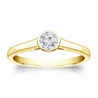 Auriya 18k Gold 1/4ct TDW Round-cut Diamond Solitaire Bezel Engagement Ring (H-I, VS1-VS2)