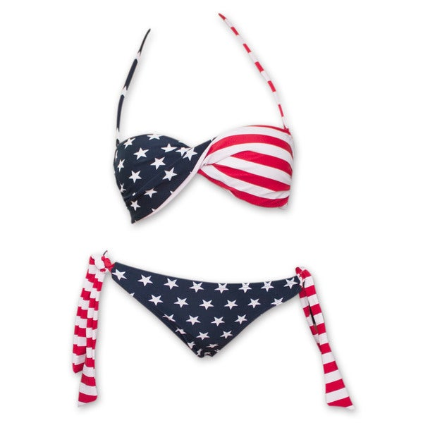5474ecc8b Shop USA Women s American Flag Bikini Set - Free Shipping On Orders Over   45 - Overstock - 11470492