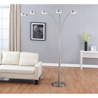 "Artiva USA ""Micah Plus"" Modern LED 88-inch 5-Arched Brushed Steel Floor Lamp with Dimmer"