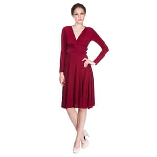 Women's Long Sleeve Convertible Front-to-Back Short Dress Cocktail Gown Work Dress|https://ak1.ostkcdn.com/images/products/11470500/P18426759.jpg?impolicy=medium