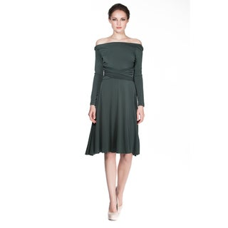 Women's Long Sleeve Convertible Front-to-Back Short Dress Cocktail Gown Work Dress