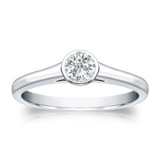 Auriya 18k Gold 1/4ct TDW Round-cut Diamond Solitaire Bezel Engagement Ring (I-J, SI1-SI2)