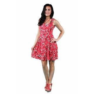24/7 Comfort Apparel Women's Aqua-Red Rose Abstract Neckline Dress