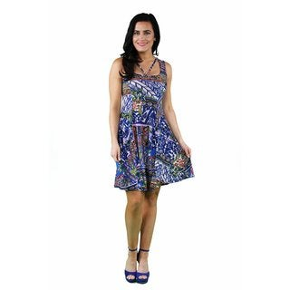 24/7 Comfort Apparel Women's Lilac Tile Abstract Neckline Dress