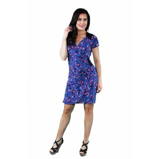 24/7 Comfort Apparel Women's Blue-Pink Rose Faux Wrap Knee-Length Dress