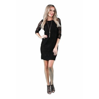 24/7 Comfort Apparel Women's Black Lace Dress