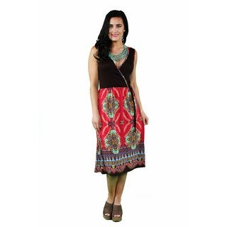 24/7 Comfort Apparel Women's Pink-Brown Mandala Printed Dress