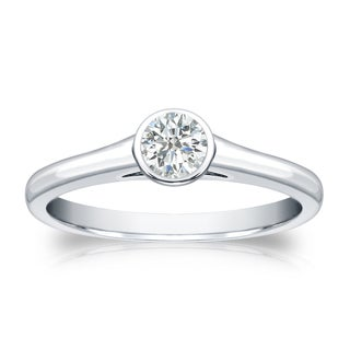 Auriya 18k Gold 1/4ct TDW Round-cut Diamond Solitaire Bezel Engagement Ring