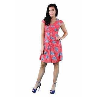 24/7 Comfort Apparel Women's Red&Blue Floral Shirred Dress