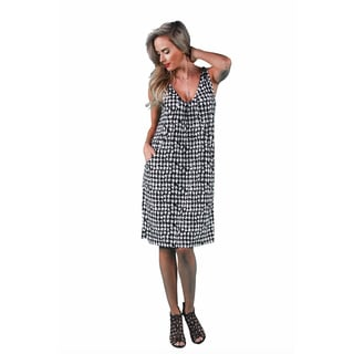 24/7 Comfort Apparel Women's Houndstooth Tank Dress