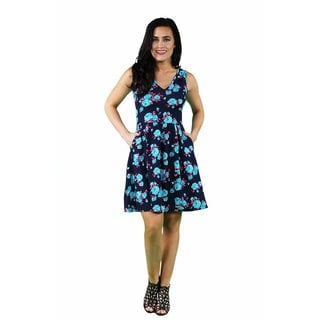 24/7 Comfort Apparel Women's Floral Sleeveless A-line Dress