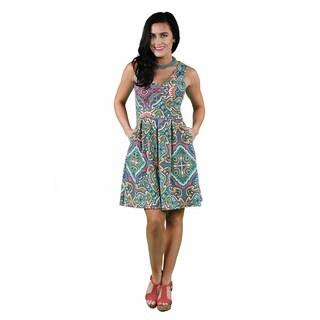 24/7 Comfort Apparel Women's Paisley Mosaic Sleeveless A-line Dress