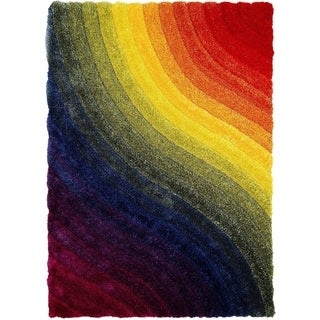 LYKE Home 3 Dimensional Rainbow Dual Textured Yarn Rug (5' x 7')