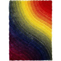 LYKE Home 3 Dimensional Rainbow Dual Textured Yarn Rug (5' x 7')