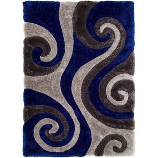 LYKE Home 3 Dimensional Electric Blue Dual Textured Yarn Rug (5' x 7')