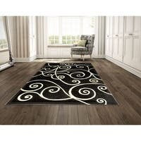 LYKE Home Power Loomed Double Point Grey Polypropylene Rug - 8' x 10'