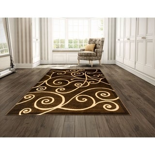 LYKE Home Power Loomed Drop Stitch Chocolate Polypropylene Rug (8' x 10')
