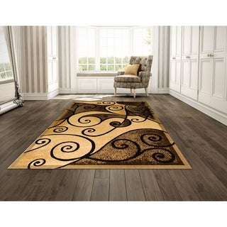 LYKE Home Power Loomed Double Point Brown Polypropylene Rug (8' x 10')
