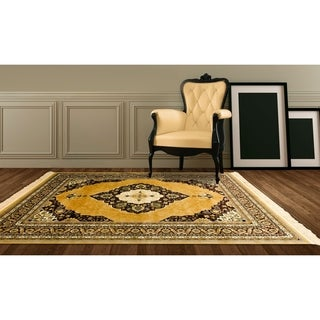 LYKE Home Power Loomed Heat Set Dual Textured Yarn Gold Rug (8' x 11')