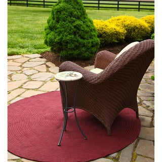 Rhody Rug Madeira Indoor / Outdoor Braided Rug (4' Round) (Option: Burgundy)